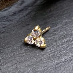 Trinity de oro macizo 18 Kt. y 3 Swarovski® push pin